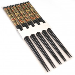 set of 5 pairs of wooden Japanese chopsticks nok 3
