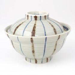 Tazón de cerámica japonés con tapa, RAIN, gris