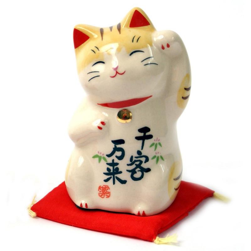chat porte-bonheur japonais Manekineko en céramique 7744