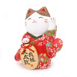 chat porte-bonheur japonais Manekineko kimono en céramique 7419