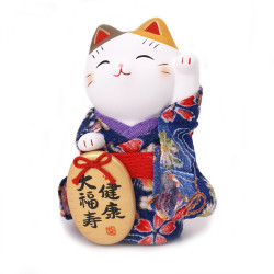 chat porte-bonheur japonais Manekineko kimono en céramique 7418