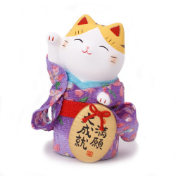 chat porte-bonheur japonais Manekineko kimono en céramique 7416