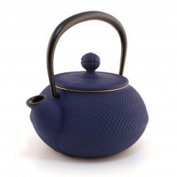 petite théière bleue japonaise en fonte, Arare 0.3 lt