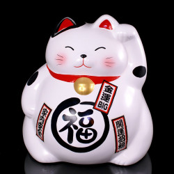Grand Chat tirelire blanc porte-bonheur japonais maneki neko - myako 334325