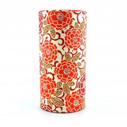 boîte à thé rouge japonaise en papier washi 202E03