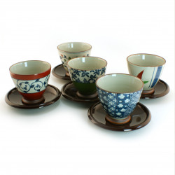 set of 5 Japanese cups with saucers 16M1613041