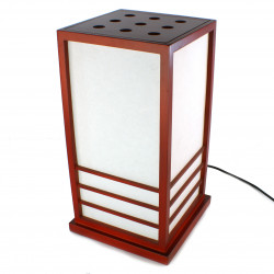 Grande lampe de table japonaise NIKKO rouge