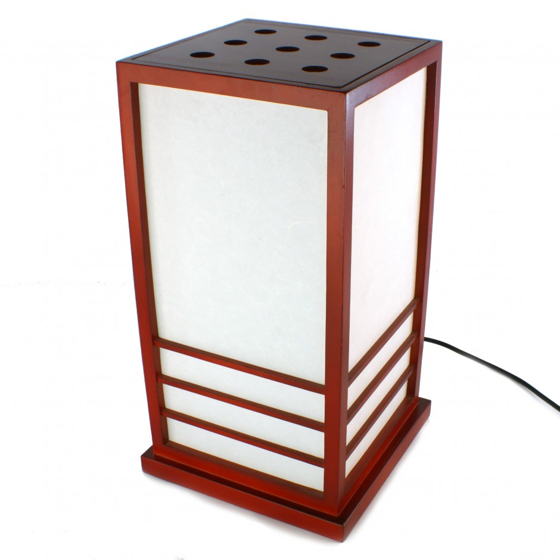 Grande lampe de salon japonaise, NIKKO, rouge