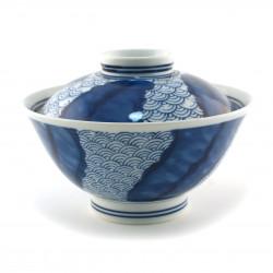 Ciotola in ceramica giapponese con coperchio, SEIGAIHA, blu e bianco