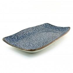assiette bleue japonaise en céramique rectangulaire 183-5-52E