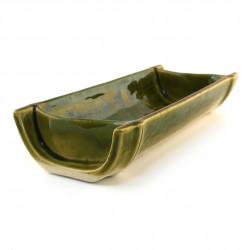 Japanese green rectangular plate ceramic 18-21-37E