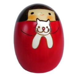 Poupée japonaise en bois Kokeshi Neko no Sally