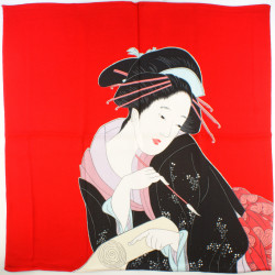 red japanese furoshiki Harumachi Bijin
