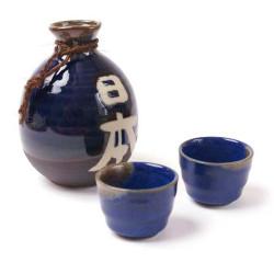 service japonais bleu à saké 2 verres et 1 bouteille