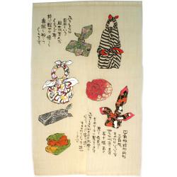 rideau noren japonais en lin Furoshiki