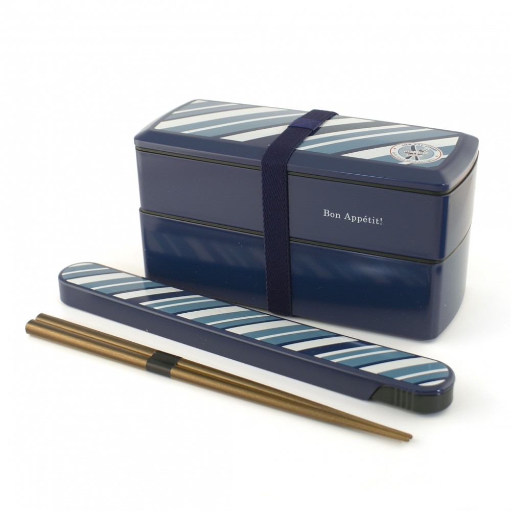 rectangular japanese bento box - lunch box - blue