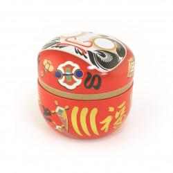 red Japanese blue tea box Daruma