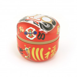 red Japanese blue tea box Daruma