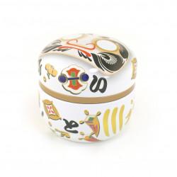 white Japanese blue tea box Daruma