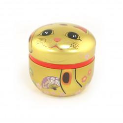 boîte à thé dorée japonaise Manekineko
