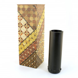 Wall vase covered with traditional Hakone marquetry YOSEGI