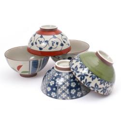 set de 5 bols à riz chawan en céramique japonaise MYA31182