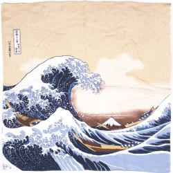 furoshiki beige japonais NAMIFUJI- Hokusai La Grande Vague de Kanagawa