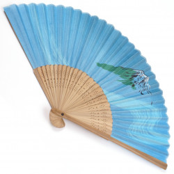 japanese fan - cotton and bamboo - blue fuji