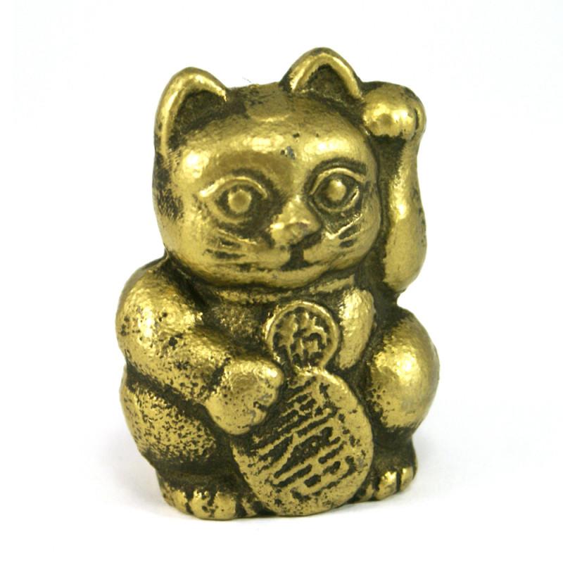 chat porte-bonheur japonais Manekineko en Fonte