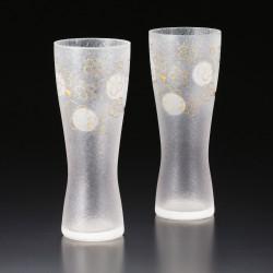 duo of japanese glasses of beer made in Japan - sakura