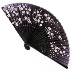 japanese fan - paper and bamboo - sakura black