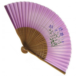 japanese fan - silk and bamboo - Kikyo