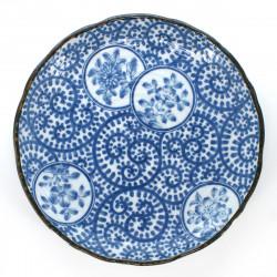 Japanese round ceramic plate karakusa