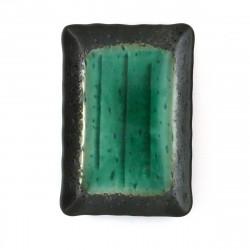 Japanese green plate rectangular ceramic 210-16-233