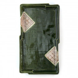 Japanese green rectangular plate ceramic 205-13-33E