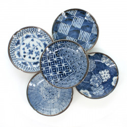 5 little dishes set with patterns blue SOME KÔBÔ