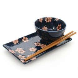 plate rice bowl and pairs of chopsticks set with pink sakura flower patterns blue navy NAVY SAKURA