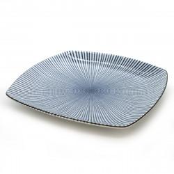 assiette traditionnelle japonaise de taille moyenne carrée SENDAN TOKUSA