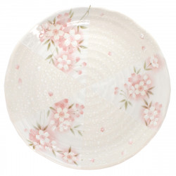 assiette japonaise de taille moyenne motifs fleurs de sakura SAKURA
