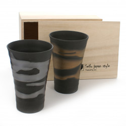 set of 2 tall cups with gold and silver gilding black KINGIN NAGASHI HOROYOI