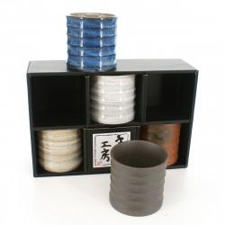 set de 5 tasses à thé traditionnelles japonaises KEZURI GOSAI