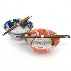 set de 2 bols de riz traditionnels japonais avec images de chat et paires de baguettes NEKO