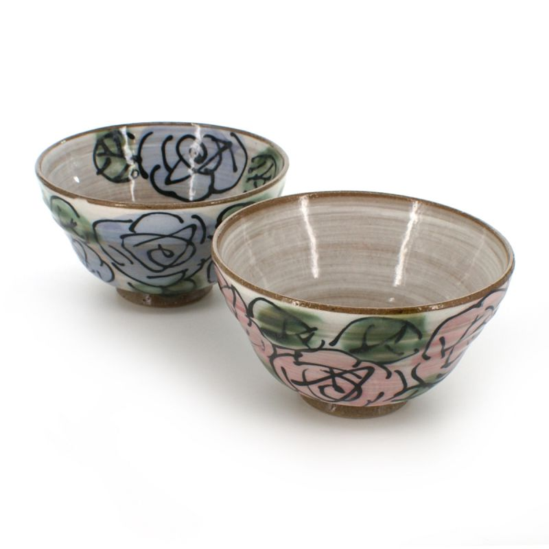Pair of rice bowl with rose and purple flower patterns purple and pink MURASAKI BARA