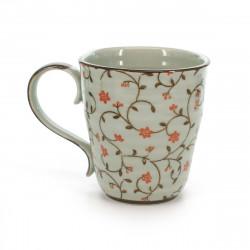 teacup with red flower patterns white SABI KARAKUSA AKA