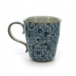teacup with blue flower patterns white TSURU KARAKUSA