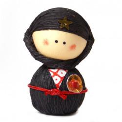 bambola giapponese, fatta di carta - okiagari, NINJYA, ninja nero