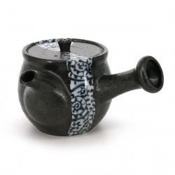 teapot with blue tako patterns brown TAKO-KARAKUSA
