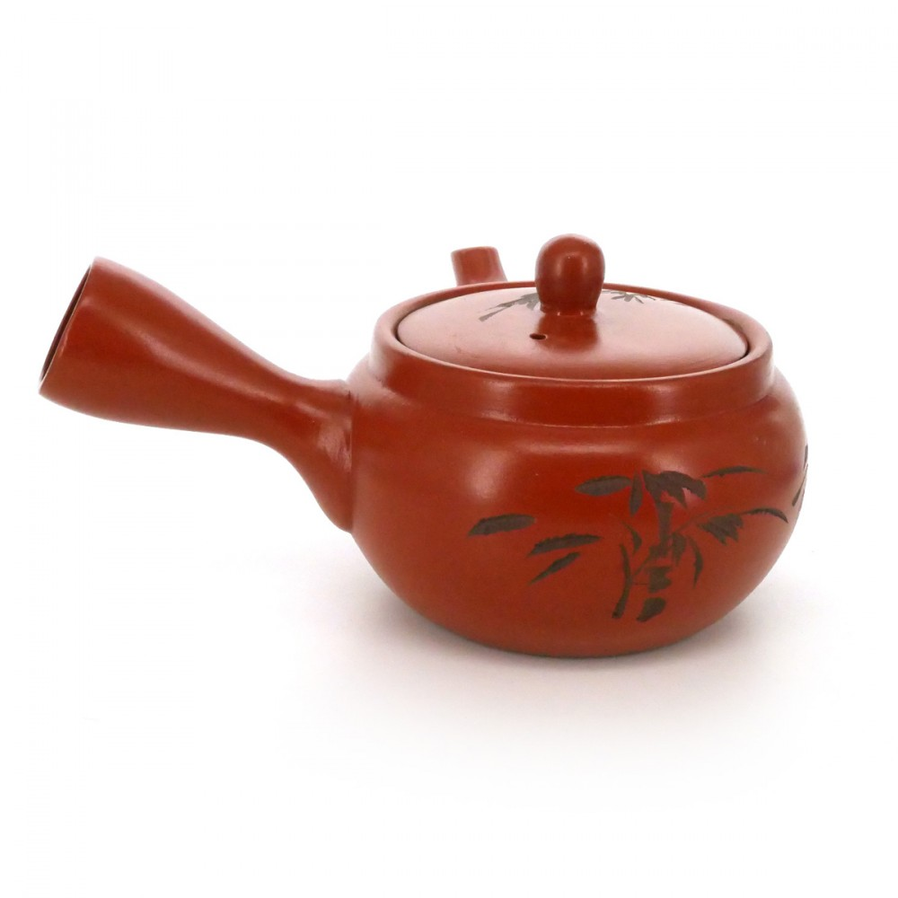 teapot with carving flowers red SYUDEI