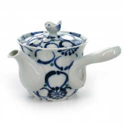 teapot with big blue flower patterns white DAIRIN HANA
