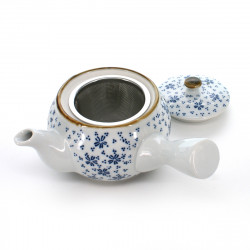 teapot with little blue flowers patterns white SOMETSUKE KOHANA